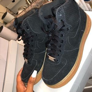 Black and wheat Nike suede Air Force Ones. Women.